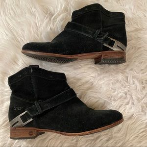 Ugg Sz 8 Black Suede Dane Booties S/N 3181